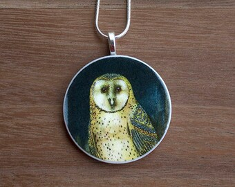 Night Owl Necklace, Night Owl Pendant, Vintage Owl, Handcrafted Jewelry, Gift for Bird Lovers, Free Shipping in US