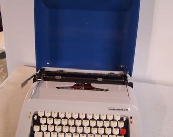 Vintage Underwood Manual Typewriter, Model 378, 60's-70', Blue & Gray, Made in Spain, Nice Condition, In Working Order,
