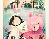 Jitna and her pink bear, original watercolor painting
