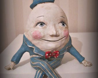 Humpty Dumpty doll, folk art, book character, one of a kind clay doll