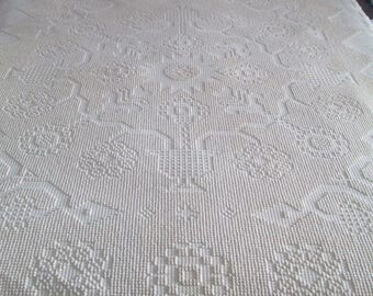 Vtg BATES WASHINGTON'S CHOICE Hobnail Chenille Bedspread, Twin Off-White, Tag