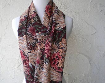 Adult Bib Dining Scarf Gorgeous brown and gold floral print Dignity Scarf Microfiber scarf protects drips & spills Perfect for dining in/out