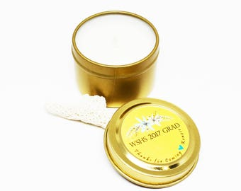 Party Favors for Grad Soy Candles in 2 Oz. Gold Travel Tin with Your Custom Note