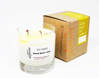 Soy Candle Sweet Basil Candle Sage Candle in Whisky Glass Jar Copper Stamped Gift Box Gift Candle Free Shipping Drop Shipping 9 Oz Candle
