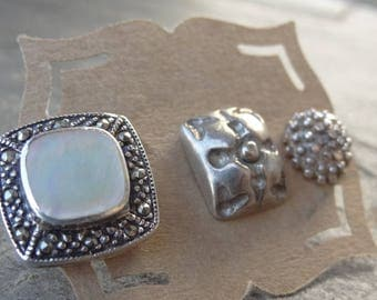 Single Sterling Stud Vintage- Mismatched Earrings - Single - Post Earrings - Pearl - Marcasite - Rectangle - Dotted Stud -