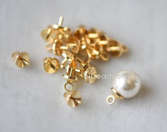 20pcs Solid Gold plated Brass Peg Bail For Half Drilled Pearls Or Stones, Pearl Drop 5mm Cup (GB-135)