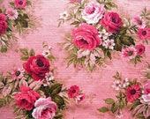 Vintage Barkcloth Cotton Fabric Floral Roses Pink Green – 1 1/4 Yard Prewashed Shabby Chic Romantic