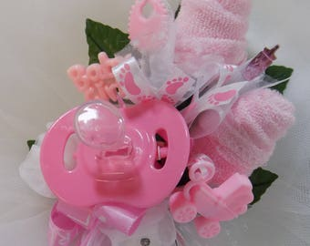 Pin On Baby Shower Corsage - Baby Girl Corsage - Floral Corsage - Pacifier and Washcloths - Baby Shower Items