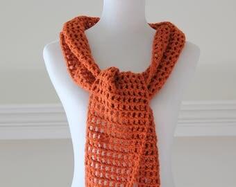 Crocheted Pumpkin color Neckwarmer Scarf