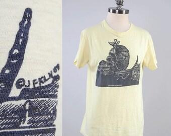 RARE Vintage 60s Jim Franklin CROSS BREEDING armadillo t shirt / collectible Texas counterculture tee  / Armadillo World Headquarters artist