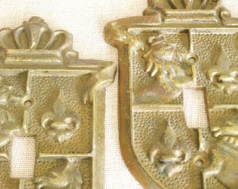 Vintage Brass Switchplate, Royal Crest, Regal, Coat of Arm, Pair, Wall Decor, Switch Plate Cover, Set of 2, European Style, Metal