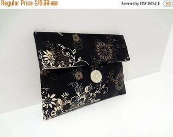 ON SALE Ready to ship - Black Floral Makeup Bag