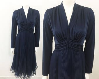 Vintage 1960s Miss Elliette California Party Dress Navy Blue Accordion Pleated Skirt