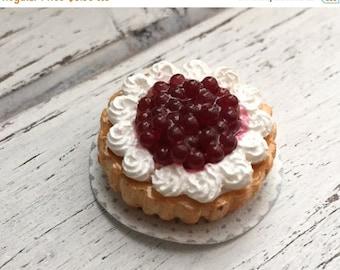 SALE Miniature Cherry and Whip Cream Cake, Dollhouse Miniature, 1:12 Scale. Dollhouse Food, Miniature Food, Dessert, Whip Cream Cake