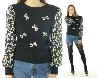 Vintage 80s Sweater Bow Embroidered Sheer Sleeves 1980s Medium M Lolita Black White