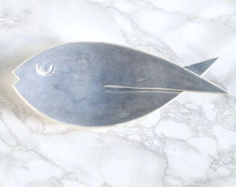 FISH ceramic dish blue grey glaze, porcelain fish soap dish, counter top soap dish, bathroom accessory, pisces