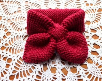 Child/Toddler Hand Knit Bow Scarf Keyhole Scarf Ascot Scarf Crimson -Ready to Ship