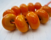 Ochre Lampwork Spacer Beads, SRA, UK Seller, UK Lampwork
