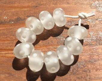 Frosted Clear and White Polkas Lampwork Glass Beads, SRA, UK Lampwork, UK Seller