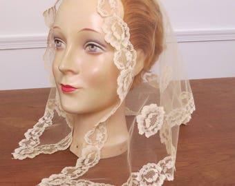 Vintage Cream Lace Church Veil - Prayer Veil Mantilla Prayer Scarf Head Covering