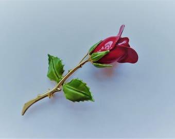 Vintage Red Rose Brooch - Midcentury Costume Jewelry - Enamel Pin