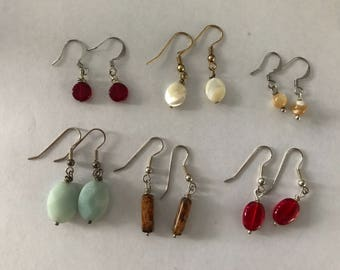 Single bead drop earrings