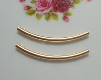 2 pcs, 2x30mm, 1.7mm ID, 14k Gold Filled Sexy Curved Tube Bar - Minimalist Collection