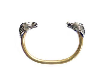 Horse Head Bracelet - A Vahan, Sterling Silver, Gold Plated, Bangle Bracelet, Cuff Bracelet, Modernist Jewelry, Vintage Bracelet