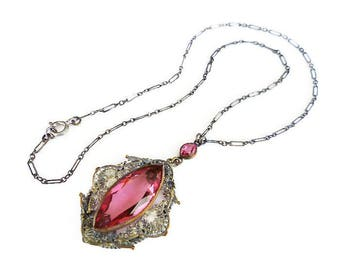 Art Deco Necklace, Pink Glass, Hot Pink, Silver Filigree, Faceted Glass, Paper Clip Chain, Art Deco Jewelry, Antique Jewelry