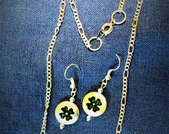 Four Leaf Clover Necklace with earrings