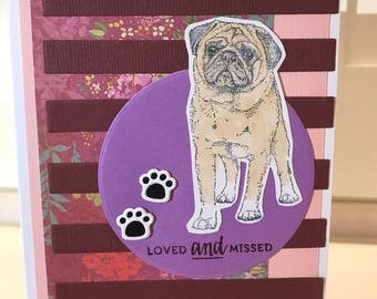 Loved and missed pug dog sympathy greeting card