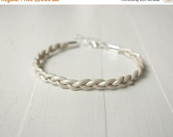 Summer Sale Braided leather bracelet white leather cuff bracelet minimalist bracelet for men for women