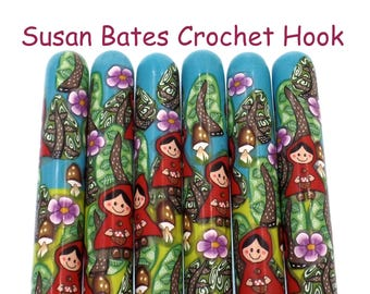 Crochet Hook, Polymer Clay Covered Susan Bates Crochet Hook, Little Red Riding Hood, Rotkäppchen , Fairy Tale