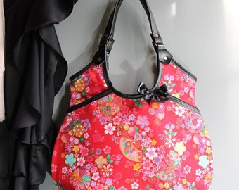 Shoulder bag handbag zipper closure - golden red multicolored - Miya