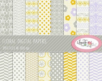 65%OFF SALE Digital paper, floral digital paper, lavender and yellow digital paper, floral scrapbook paper, floral patterns, P85