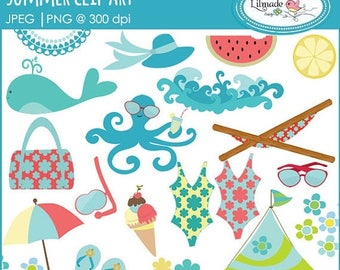 65%OFF SALE Summer clip art, summer vacation clip art, beach vacation clip art, C29