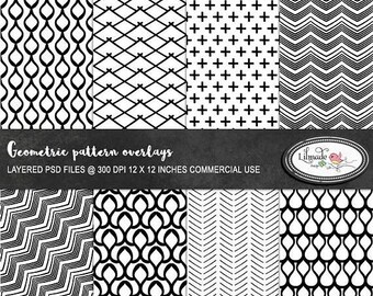 65%OFF SALE Geometric Photoshop overlays, PSD templates, layered paper templates, patterns, black and white patterns