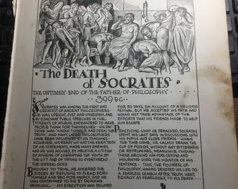The death of Socrates .1933 book page removed ftom a damaged book. Art  history