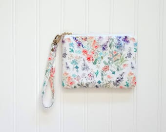 Small Wristlet Watercolor Floral Pouch, Watercolor Flowers Pouch, Designer Fabric, Wristlet Handbag