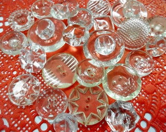 Beautiful  Mix Crystal Clear Glass Sewing Buttons Collection of (25) Each Fancy Vintage Fashion Embellishments