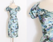 Vintage 50s Dress | 1950s Ceil Chapman dress | blue floral silk | medium med | 5962