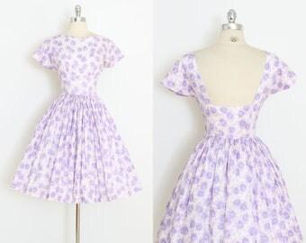 Vintage 50s Dress | 1950s purple rose print dress | open back | xs | 5984