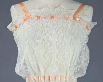 Antique Lace Ribbonwork Camisole, Bohemian Lace Camisole Top