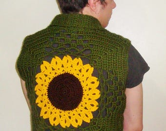 Sunflower Vest Crochet Vest Fall Fashion Clothing Gift Hippie Clothing Vest Men's Gift Boho Festival Vest Sleeveless Vest