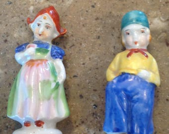 Adorable Dutch Boy Girl Miniature Figurine Stamped Porcelain Occupied Japan