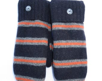 Recycled Wool Mittens from Felted Sweaters Fleece Lined Navy with Gray and Orange Stripes