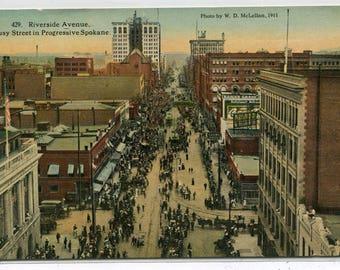 Riverside Avenue Aerial View Spokane Washington 1924 postcard