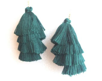 Hunter Green  Silk Tiered Tassels stacked drop earring