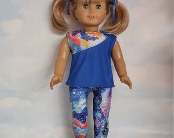 18 inch doll clothes - Royal Blue Leggings and Top handmade to fit the American girl doll - FREE SHIPPING