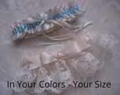 Wedding Garter Sets, Vintage Wedding Garters, Pearl Wedding Garters, Satin Garters, Lace Garters, Bridal Garters, EMBROIDERY ADDITIONAL